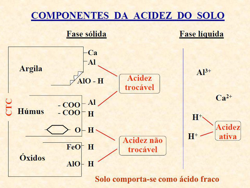 Determinação da Acidez Potencial (H+Al) l Incluí todo o Al trocável e o H dissociado da fase sólida até pH 7,0 l Acidez potencial: forma não dissociada l Métodos utilizados atualmente: a) Método da extração com acetato de cálcio b) Método da solução tampão SMP Objetivo: determinar a concentração de H+Al existente na fase sólida do solo
