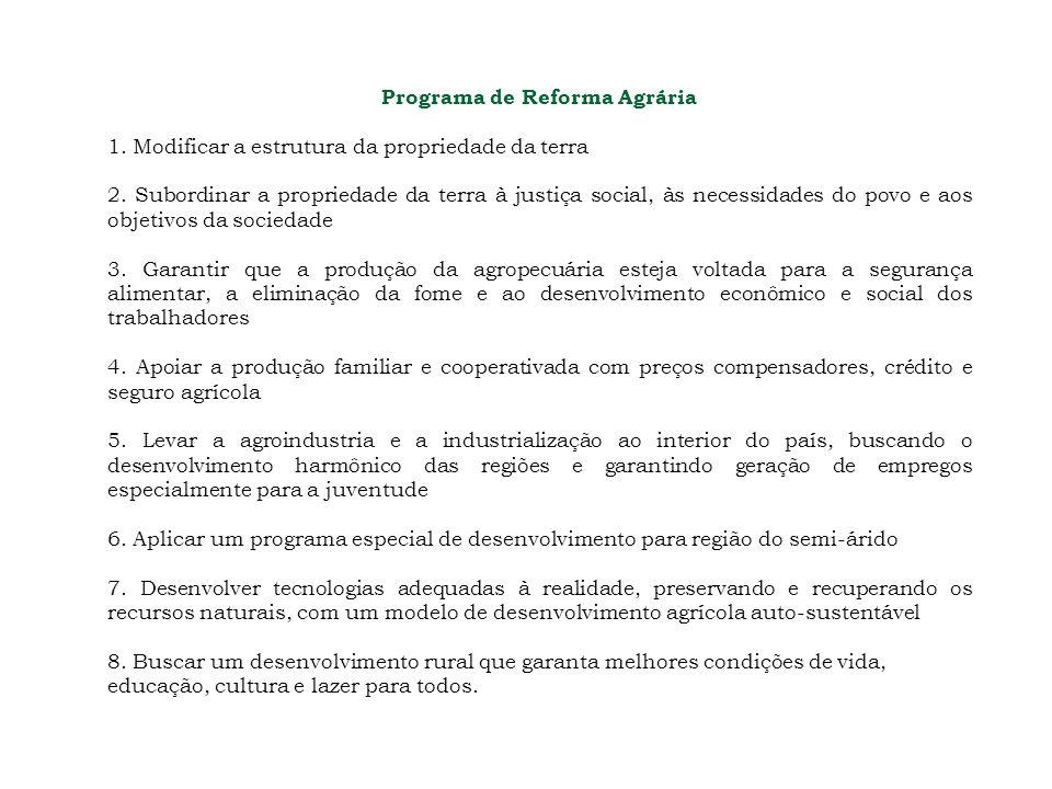 Programa de Reforma Agrária 1. Modificar a estrutura da propriedade da terra 2. Subordinar a propriedade da terra à justiça social, às necessidades do