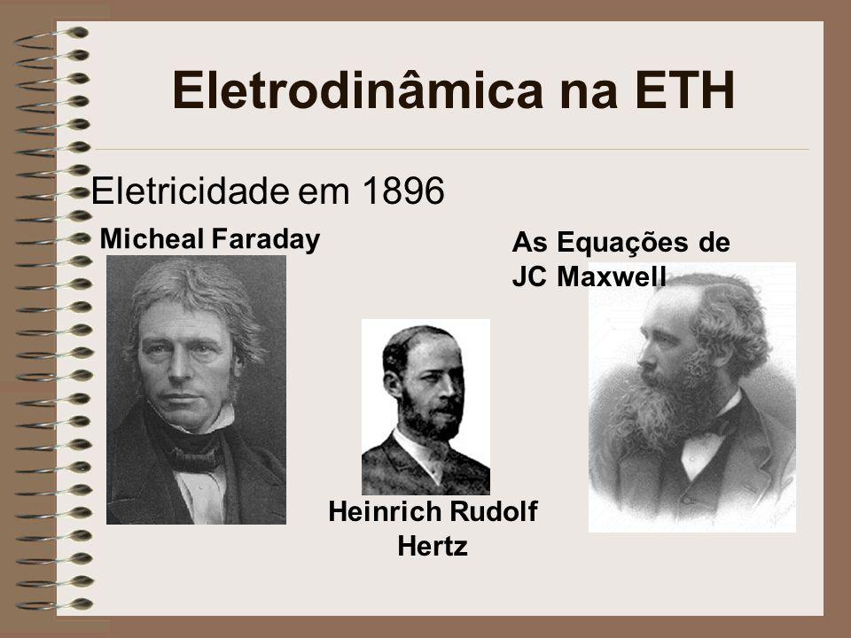 Eletrodinâmica na ETH Eletricidade em 1896 As Equações de JC Maxwell Micheal Faraday Heinrich Rudolf Hertz