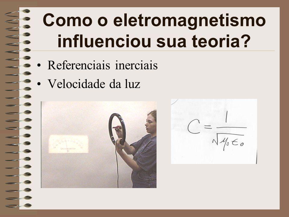 Como o eletromagnetismo influenciou sua teoria? Referenciais inerciais Velocidade da luz
