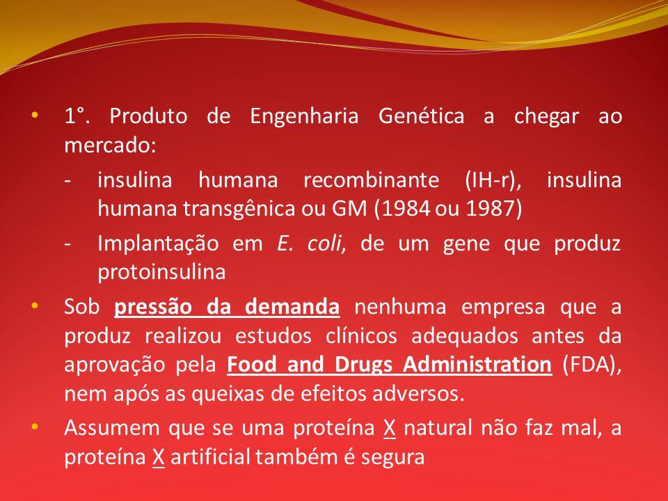 1°. Produto de Engenharia Genética a chegar ao mercado: -insulina humana recombinante (IH-r), insulina humana transgênica ou GM (1984 ou 1987) -Implan