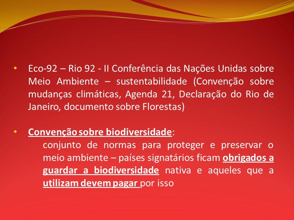 Eco-92 – Rio 92 - II Conferência das Nações Unidas sobre Meio Ambiente – sustentabilidade (Convenção sobre mudanças climáticas, Agenda 21, Declaração