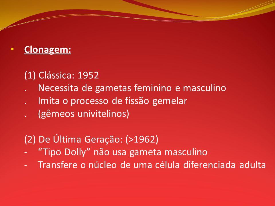 Clonagem: (1) Clássica: 1952.Necessita de gametas feminino e masculino.Imita o processo de fissão gemelar.(gêmeos univitelinos) (2) De Última Geração:
