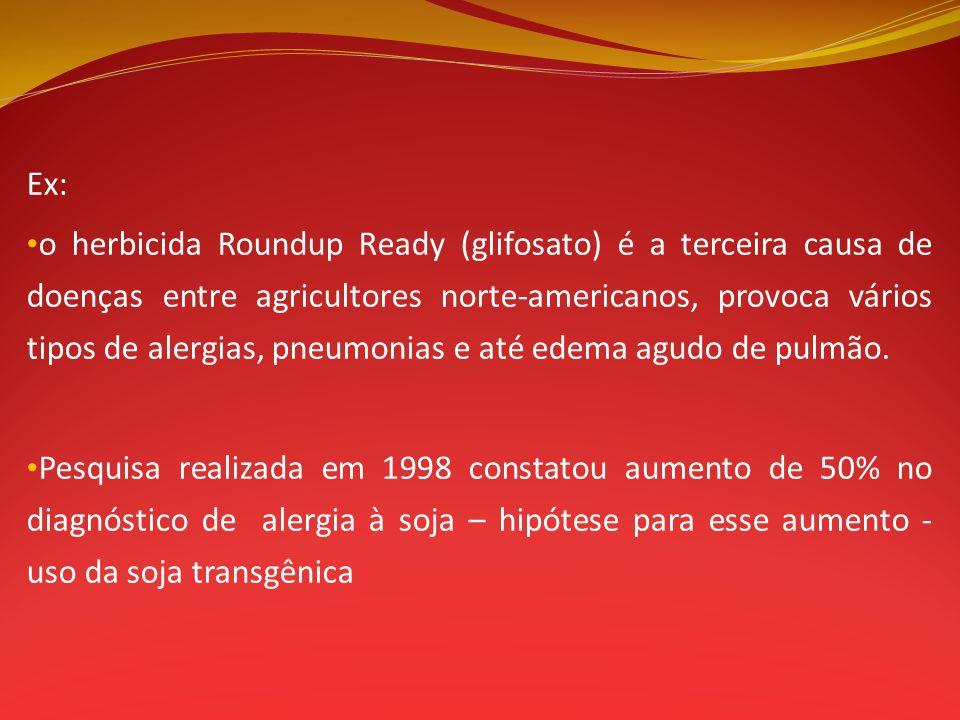 Ex: o herbicida Roundup Ready (glifosato) é a terceira causa de doenças entre agricultores norte-americanos, provoca vários tipos de alergias, pneumon