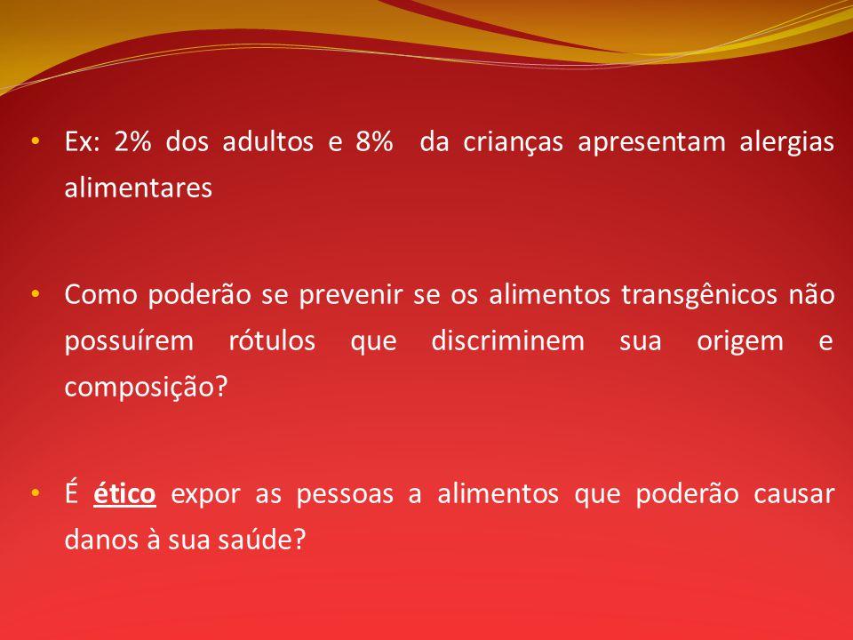 Ex: 2% dos adultos e 8% da crianças apresentam alergias alimentares Como poderão se prevenir se os alimentos transgênicos não possuírem rótulos que di