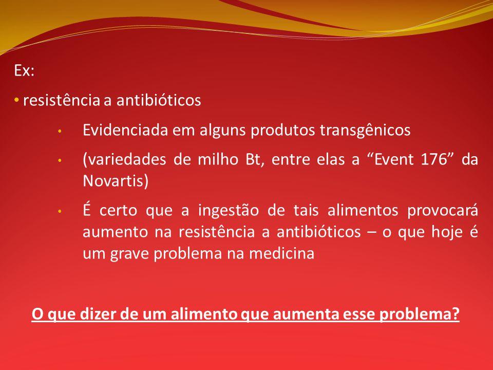Ex: resistência a antibióticos Evidenciada em alguns produtos transgênicos (variedades de milho Bt, entre elas a Event 176 da Novartis) É certo que a