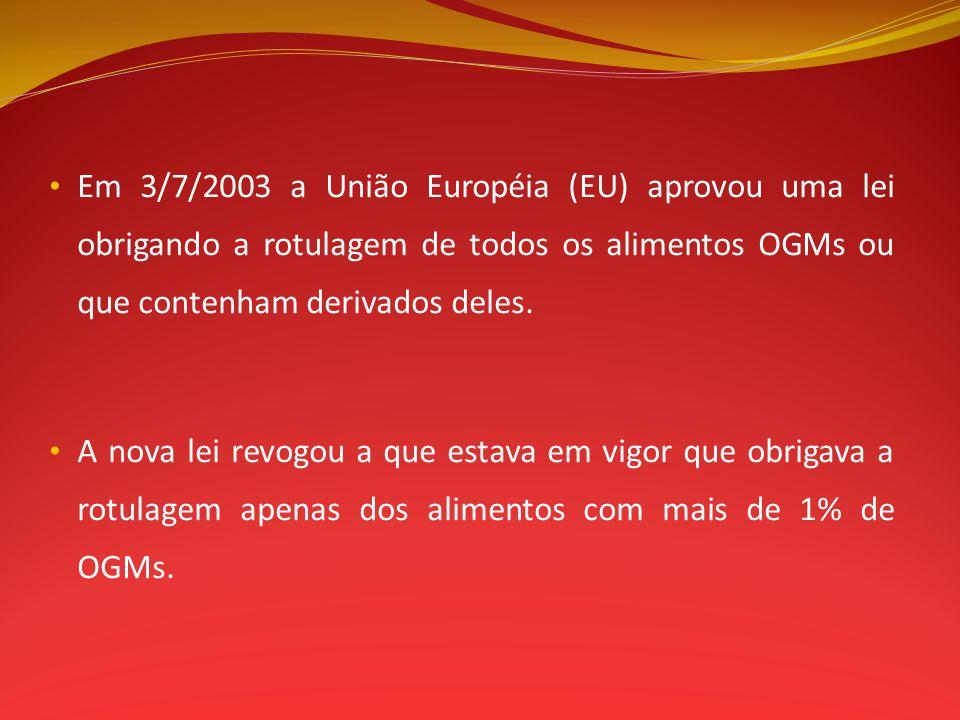 Em 3/7/2003 a União Européia (EU) aprovou uma lei obrigando a rotulagem de todos os alimentos OGMs ou que contenham derivados deles. A nova lei revogo
