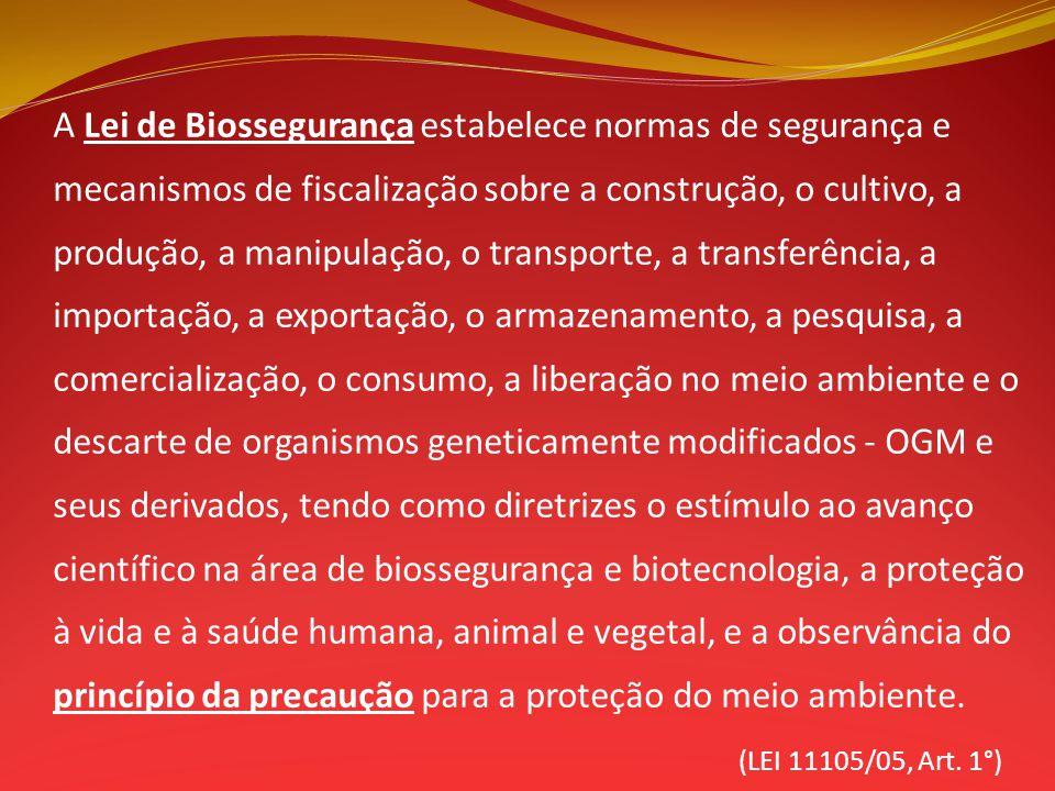 A Lei de Biossegurança estabelece normas de segurança e mecanismos de fiscalização sobre a construção, o cultivo, a produção, a manipulação, o transpo