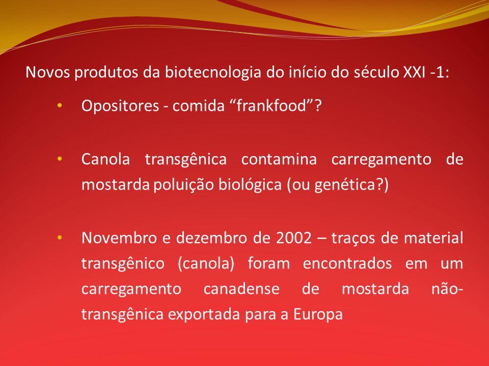 Novos produtos da biotecnologia do início do século XXI -1: Opositores - comida frankfood? Canola transgênica contamina carregamento de mostarda polui