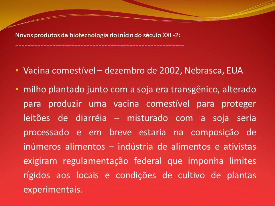 Novos produtos da biotecnologia do início do século XXI -2: ------------------------------------------------------- Vacina comestível – dezembro de 20