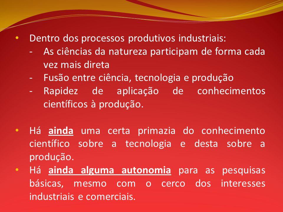 Dentro dos processos produtivos industriais: - As ciências da natureza participam de forma cada vez mais direta -Fusão entre ciência, tecnologia e pro