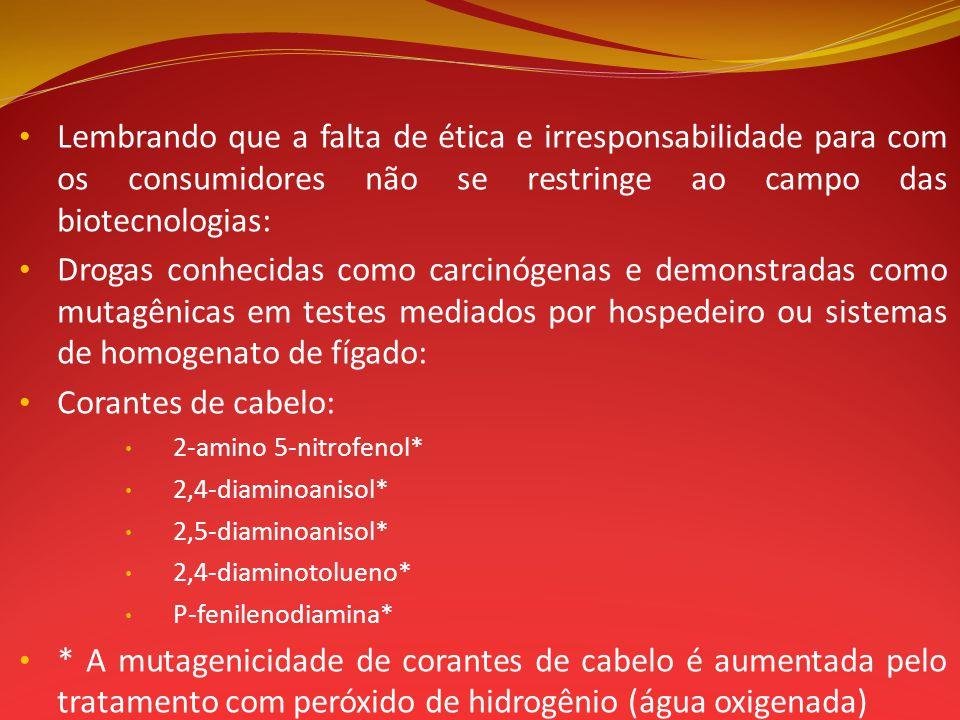 Lembrando que a falta de ética e irresponsabilidade para com os consumidores não se restringe ao campo das biotecnologias: Drogas conhecidas como carc