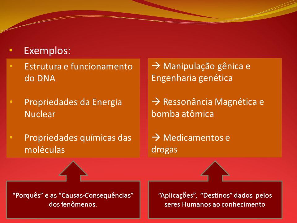 Exemplos: Estrutura e funcionamento do DNA Propriedades da Energia Nuclear Propriedades químicas das moléculas Manipulação gênica e Engenharia genétic