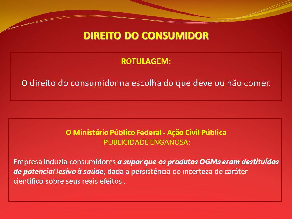 DIREITO DO CONSUMIDOR ROTULAGEM: O direito do consumidor na escolha do que deve ou não comer. O Ministério Público Federal - Ação Civil Pública PUBLIC