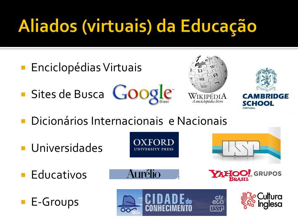 Enciclopédias Virtuais Sites de Busca Dicionários Internacionais e Nacionais Universidades Educativos E-Groups
