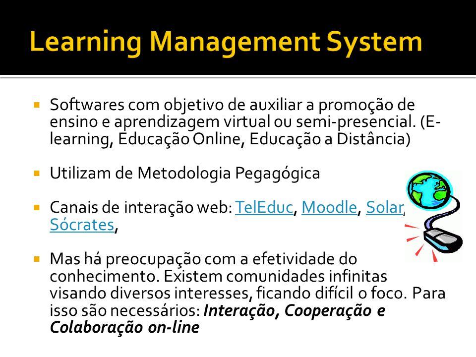 Softwares com objetivo de auxiliar a promoção de ensino e aprendizagem virtual ou semi-presencial. (E- learning, Educação Online, Educação a Distância