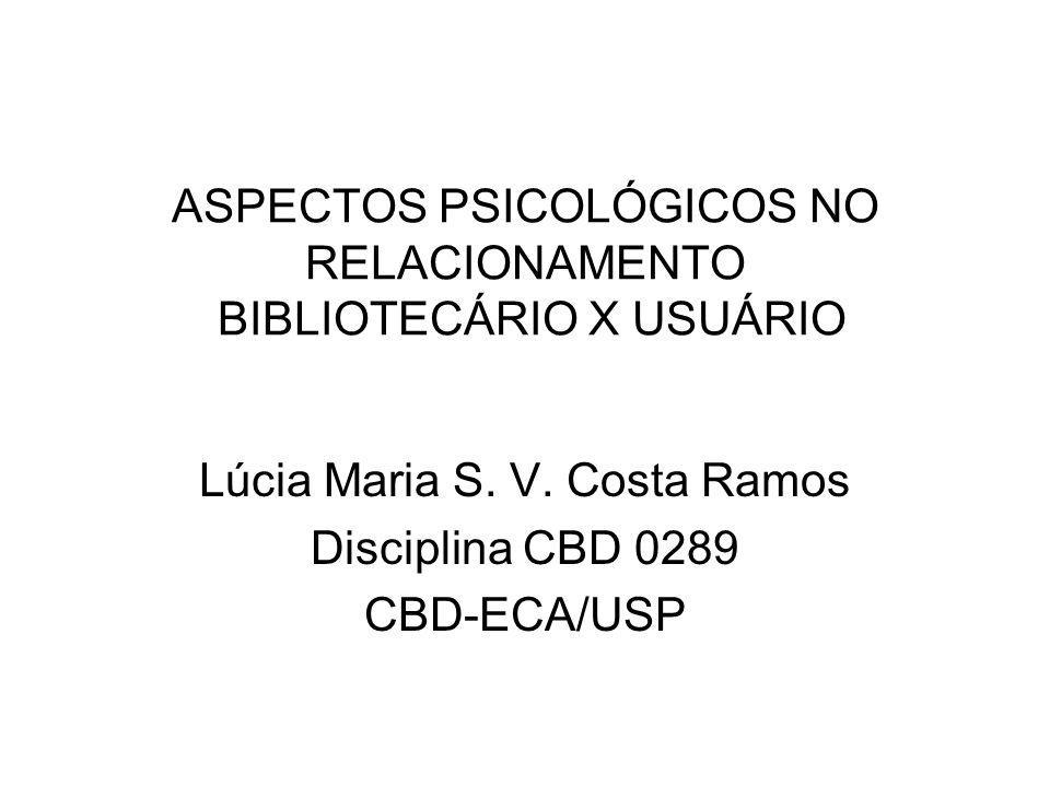 ASPECTOS PSICOLÓGICOS NO RELACIONAMENTO BIBLIOTECÁRIO X USUÁRIO Lúcia Maria S.