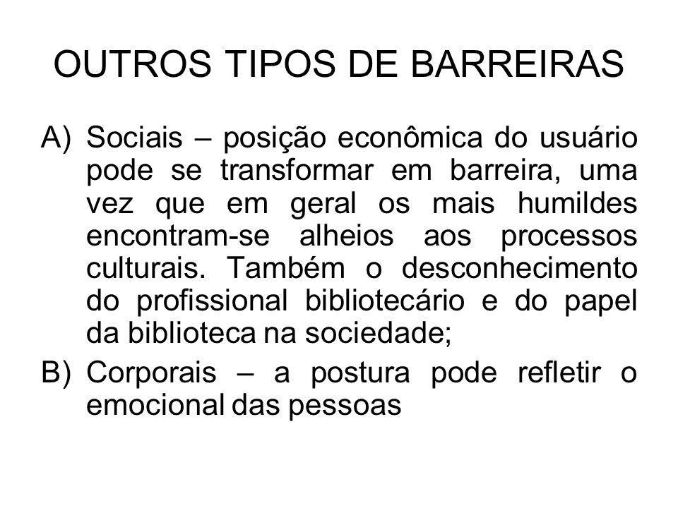 OUTROS TIPOS DE BARREIRAS A)Sociais – posição econômica do usuário pode se transformar em barreira, uma vez que em geral os mais humildes encontram-se alheios aos processos culturais.