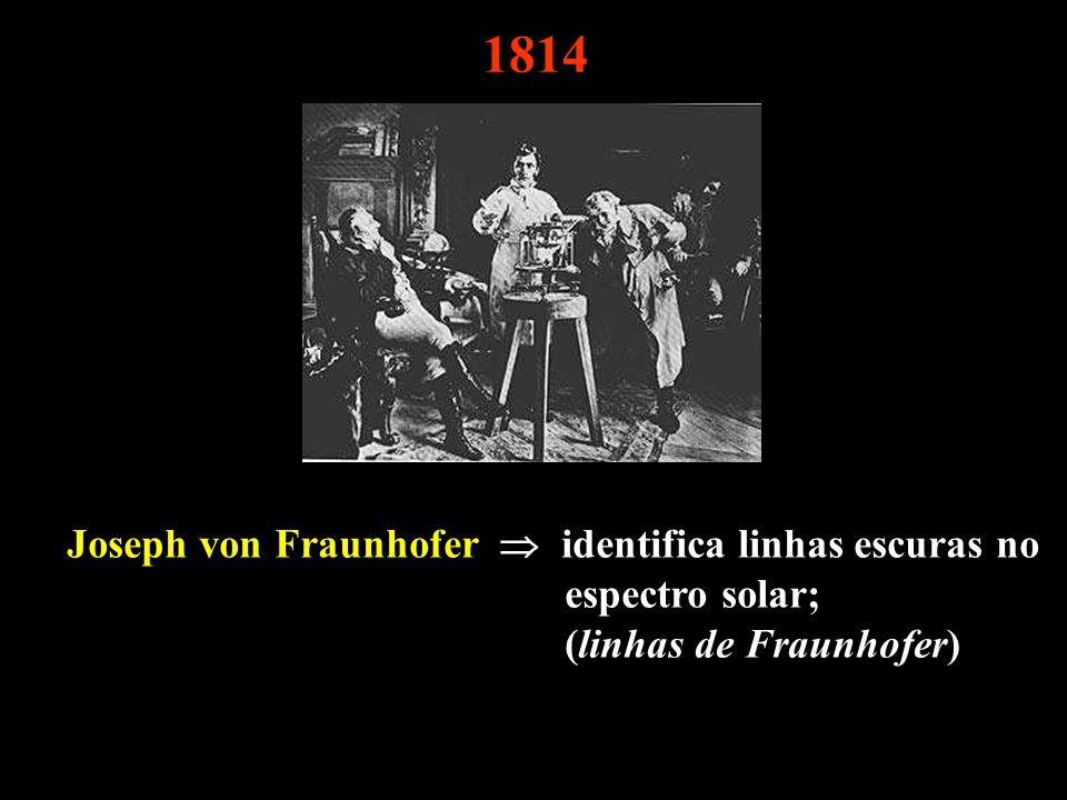 1814 Joseph von Fraunhofer identifica linhas escuras no espectro solar; (linhas de Fraunhofer)