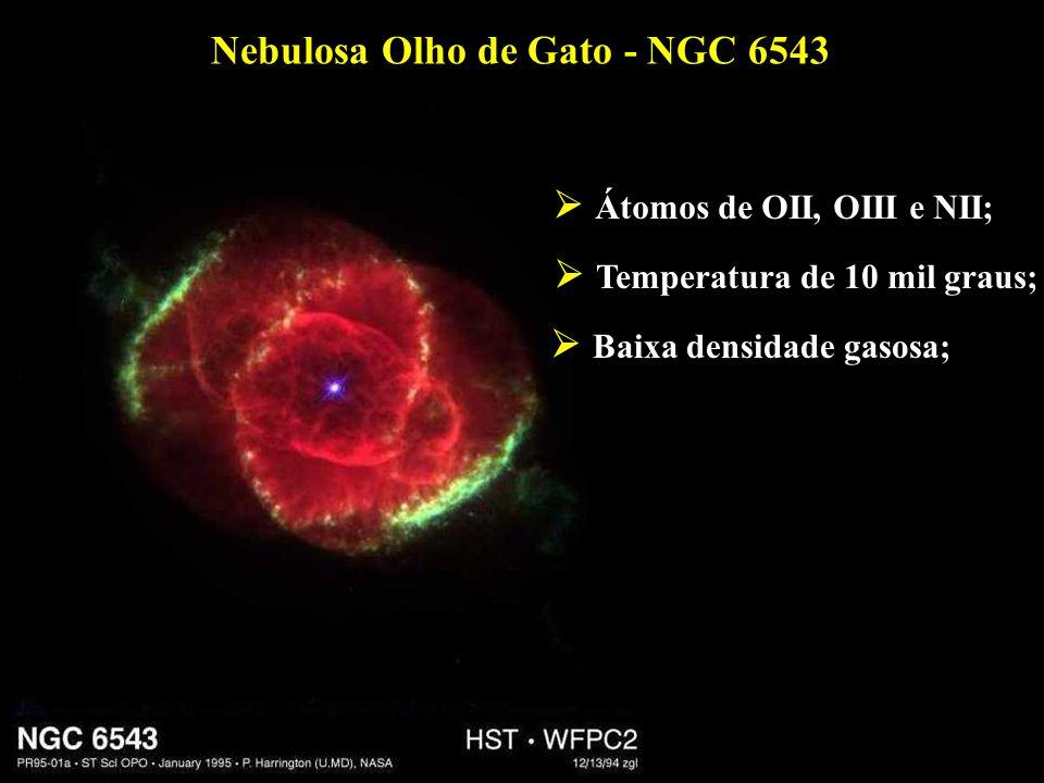 Nebulosa Olho de Gato - NGC 6543 Átomos de OII, OIII e NII; Temperatura de 10 mil graus; Baixa densidade gasosa;