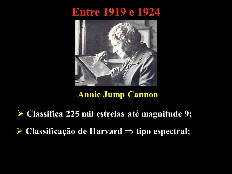 Entre 1919 e 1924 Annie Jump Cannon Classifica 225 mil estrelas até magnitude 9; Classificação de Harvard tipo espectral;