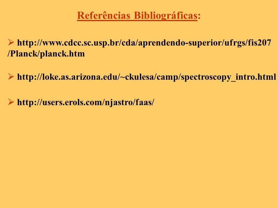 Referências Bibliográficas: http://www.cdcc.sc.usp.br/cda/aprendendo-superior/ufrgs/fis207 /Planck/planck.htm http://loke.as.arizona.edu/~ckulesa/camp