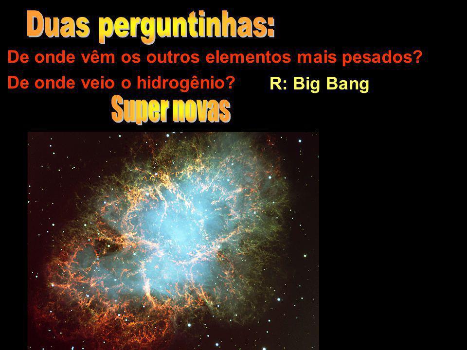 De onde vêm os outros elementos mais pesados? De onde veio o hidrogênio? R: Big Bang