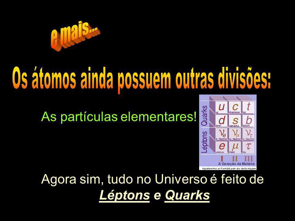 As partículas elementares! Agora sim, tudo no Universo é feito de Léptons e Quarks