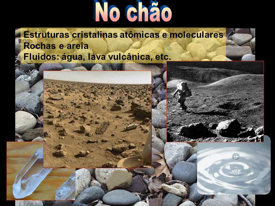 Estruturas cristalinas atômicas e moleculares Rochas e areia Fluidos: água, lava vulcânica, etc.