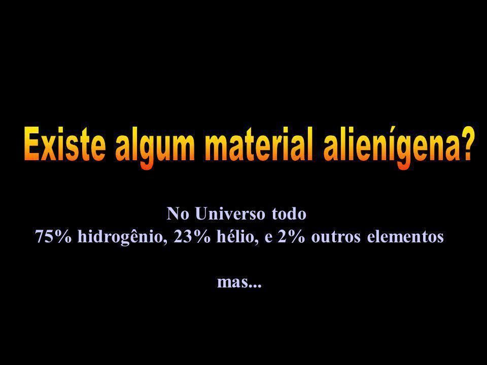 No Universo todo 75% hidrogênio, 23% hélio, e 2% outros elementos mas...