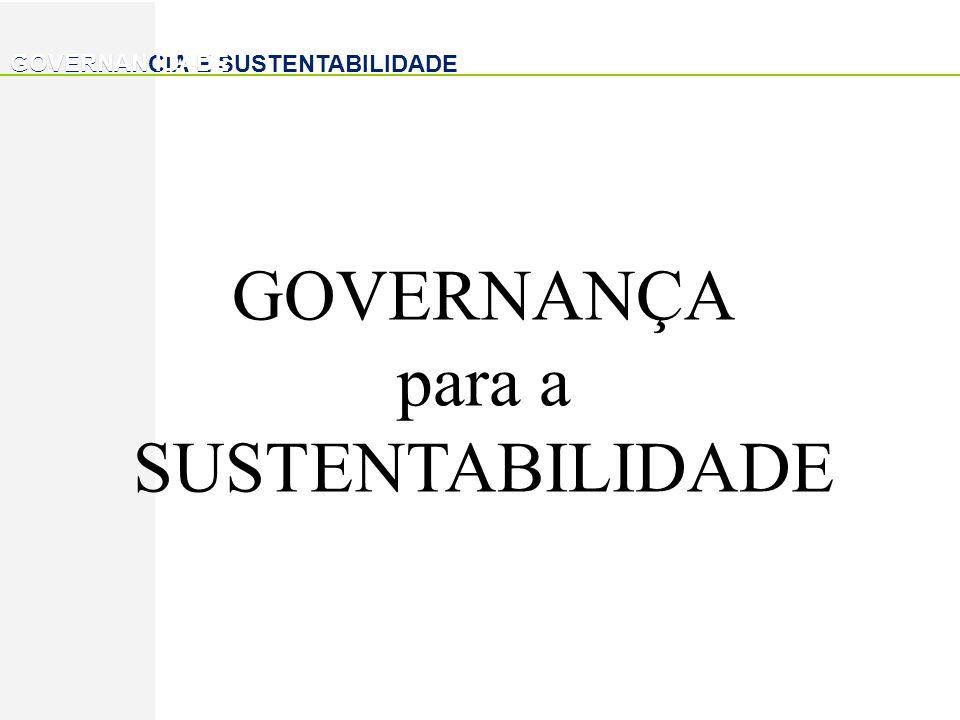 GOVERNANCIA E SUSTENTABILIDADE GOVERNANÇA para a SUSTENTABILIDADE GOVERNAN IDADE