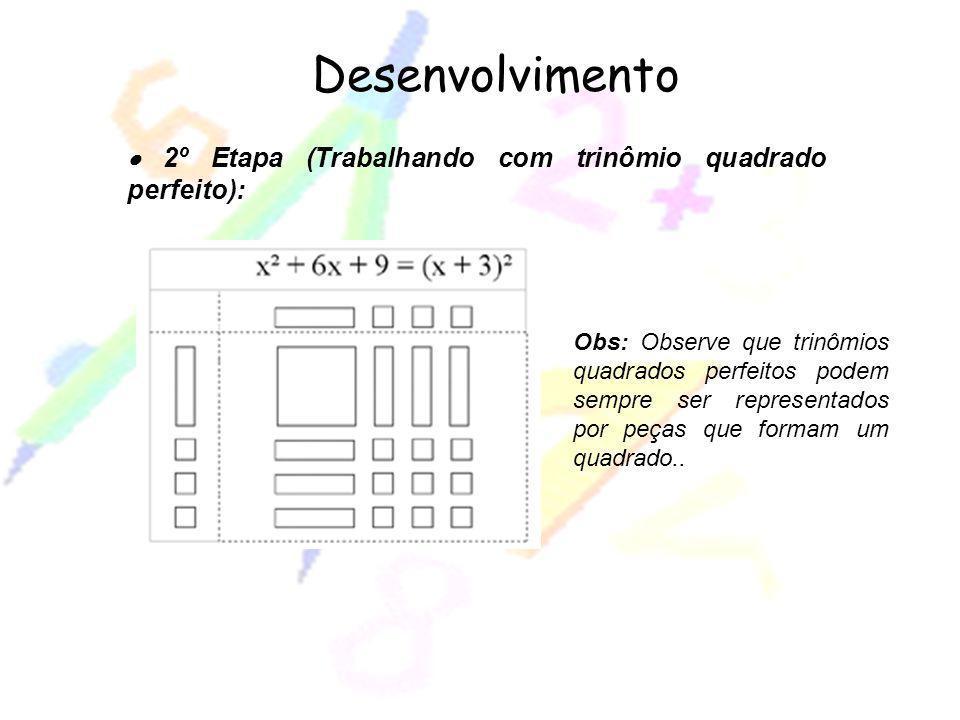 2º Etapa (Trabalhando com trinômio quadrado perfeito): Desenvolvimento Obs: Observe que trinômios quadrados perfeitos podem sempre ser representados p