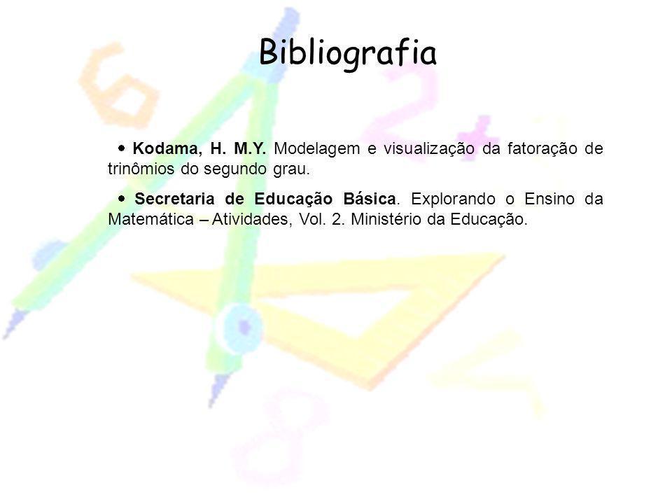 Bibliografia Kodama, H. M.Y. Modelagem e visualização da fatoração de trinômios do segundo grau. Secretaria de Educação Básica. Explorando o Ensino da