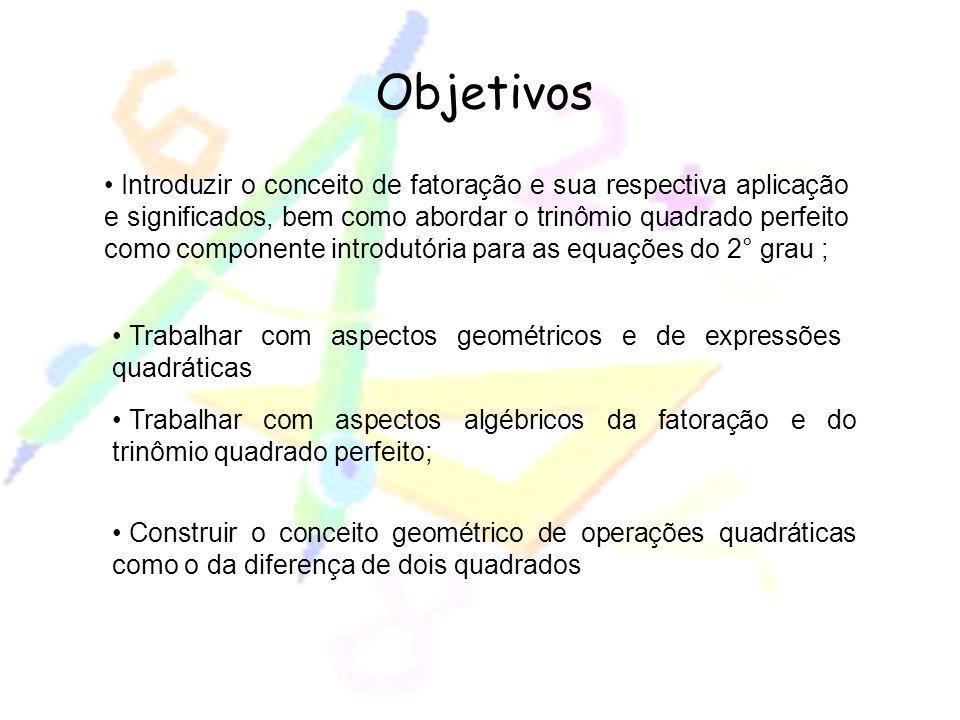 Objetivos Introduzir o conceito de fatoração e sua respectiva aplicação e significados, bem como abordar o trinômio quadrado perfeito como componente