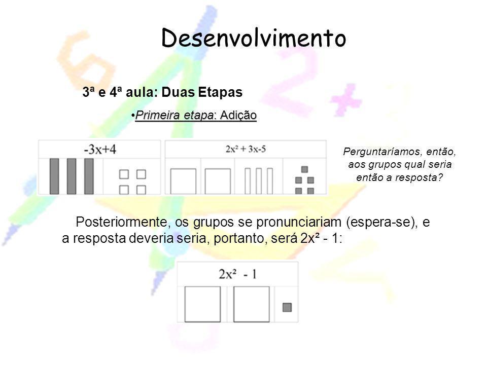 Desenvolvimento 3ª e 4ª aula: Duas Etapas Primeira etapa: AdiçãoPrimeira etapa: Adição Perguntaríamos, então, aos grupos qual seria então a resposta?