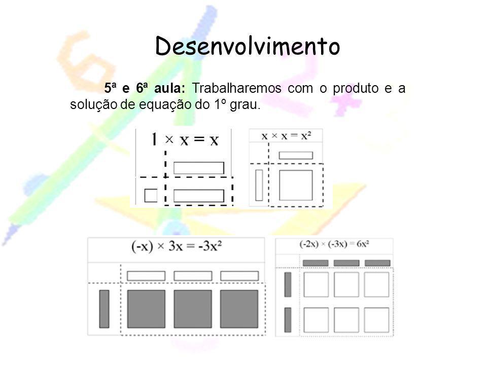 5ª e 6ª aula: Trabalharemos com o produto e a solução de equação do 1º grau. Desenvolvimento