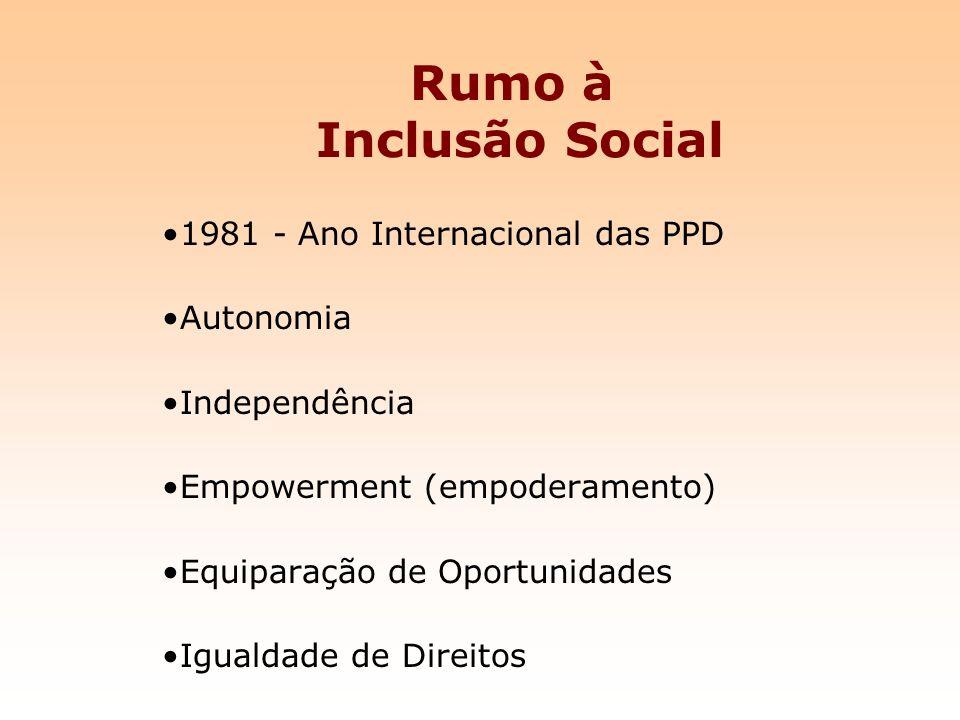 Rumo à Inclusão Social 1981 - Ano Internacional das PPD Autonomia Independência Empowerment (empoderamento) Equiparação de Oportunidades Igualdade de