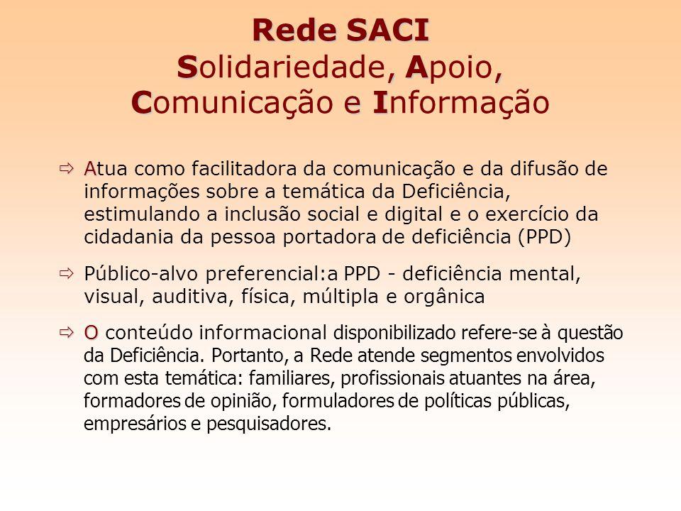 Rede SACI S, A, C e I Rede SACI Solidariedade, Apoio, Comunicação e Informação A Atua como facilitadora da comunicação e da difusão de informações sob