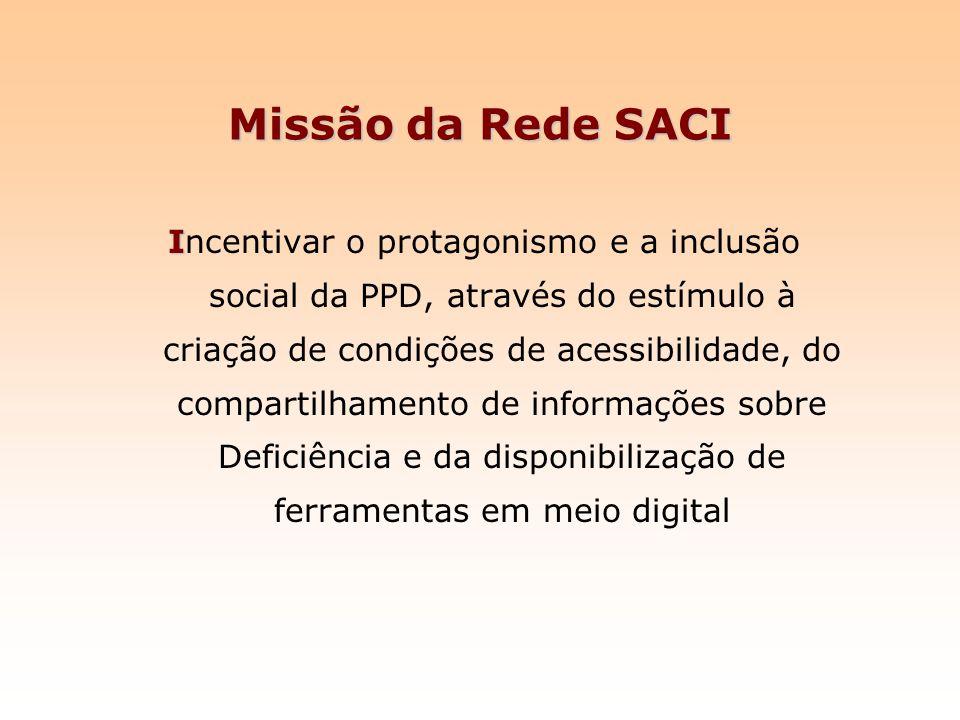 Missão da Rede SACI I Incentivar o protagonismo e a inclusão social da PPD, através do estímulo à criação de condições de acessibilidade, do compartil