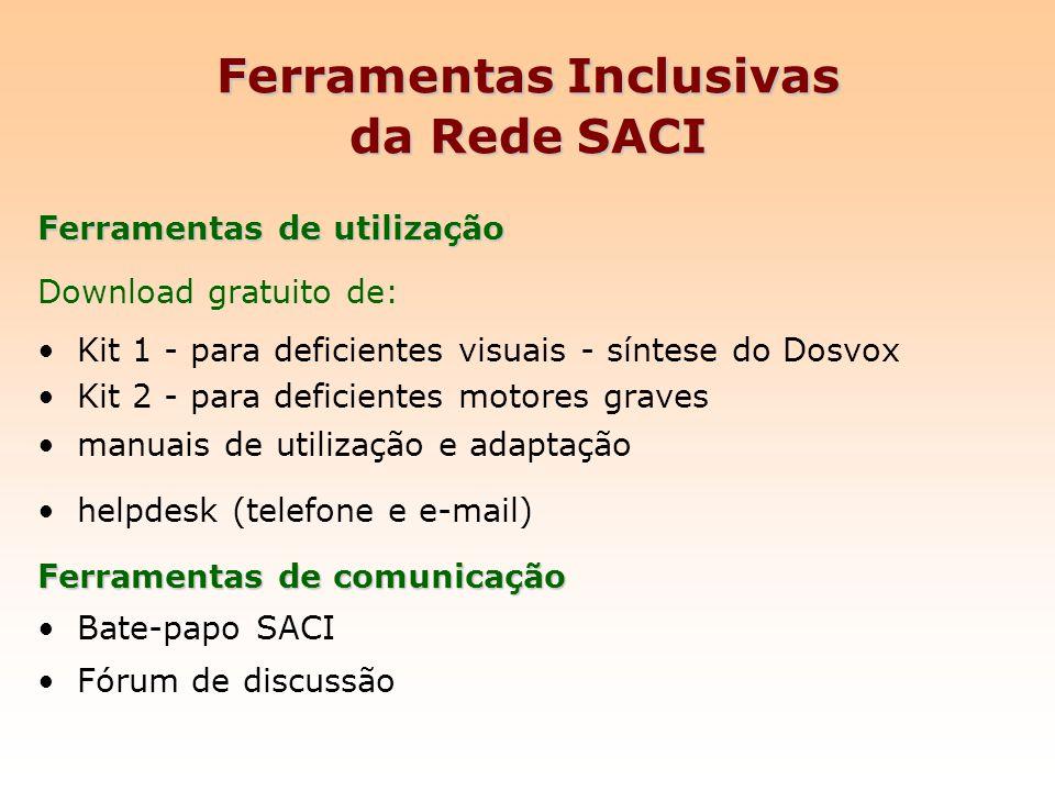 FerramentasInclusivas da Rede SACI Ferramentas Inclusivas da Rede SACI Ferramentas de utilização Download gratuito de: Kit 1 - para deficientes visuai