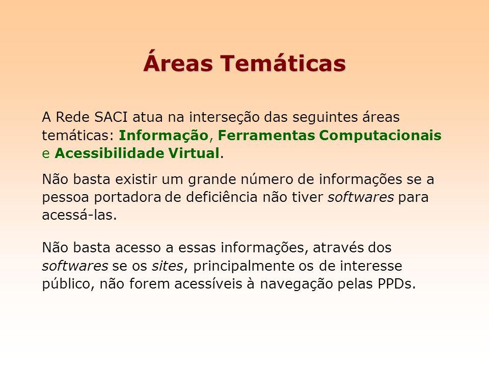 Áreas Temáticas A Rede SACI atua na interseção das seguintes áreas temáticas: Informação, Ferramentas Computacionais e Acessibilidade Virtual. Não bas