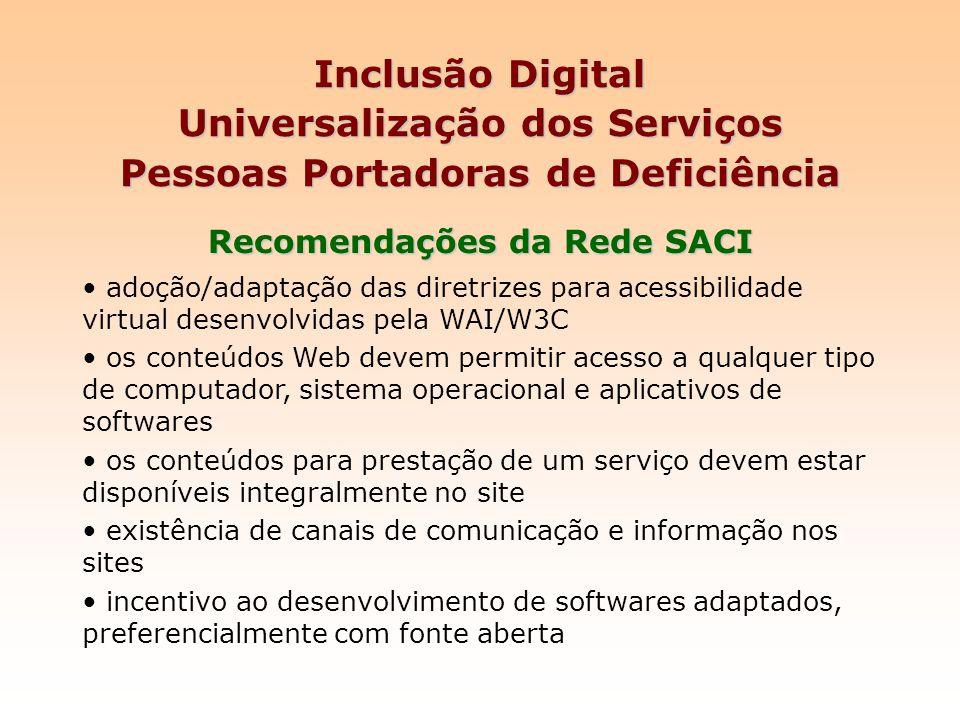 Inclusão Digital Universalização dos Serviços Pessoas Portadoras de Deficiência Recomendações da Rede SACI adoção/adaptação das diretrizes para acessi