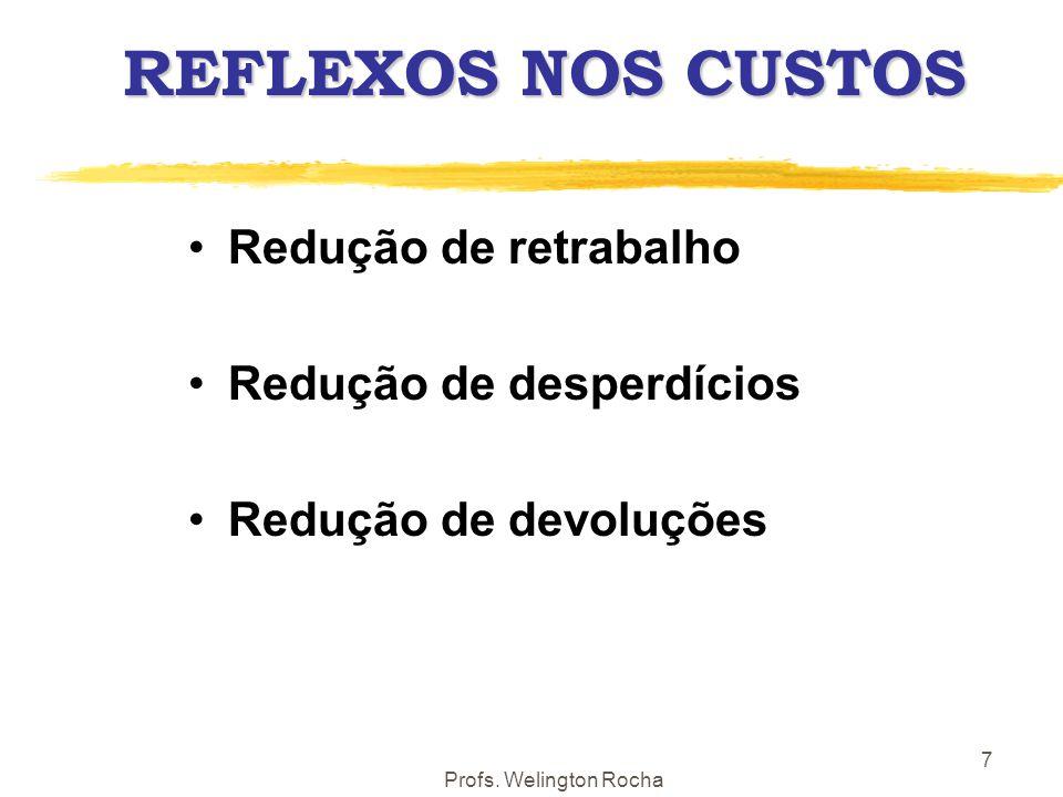Profs. Welington Rocha 7 REFLEXOS NOS CUSTOS Redução de retrabalho Redução de desperdícios Redução de devoluções