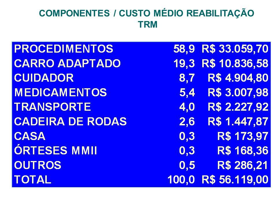 COMPONENTES / CUSTO MÉDIO REABILITAÇÃO TRM
