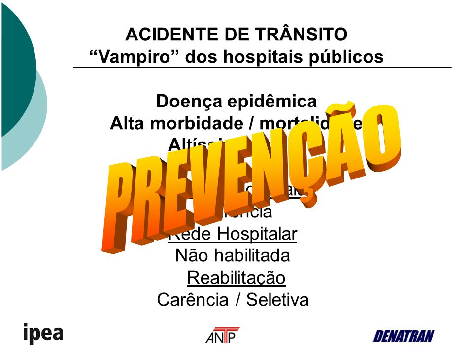 ACIDENTE DE TRÂNSITO Vampiro dos hospitais públicos Doença epidêmica Alta morbidade / mortalidade Altíssimo custo Rede Pré-hospitalar Carência Rede Ho