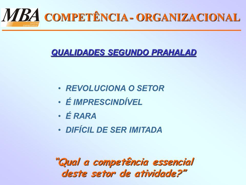 COMPETÊNCIA - ORGANIZACIONAL REVOLUCIONA O SETOR É IMPRESCINDÍVEL É RARA DIFÍCIL DE SER IMITADA Qual a competência essencial deste setor de atividade.