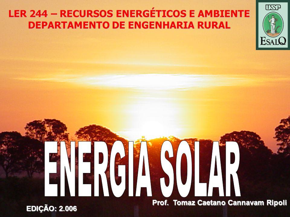 LER 244 – RECURSOS ENERGÉTICOS E AMBIENTE DEPARTAMENTO DE ENGENHARIA RURAL Prof.
