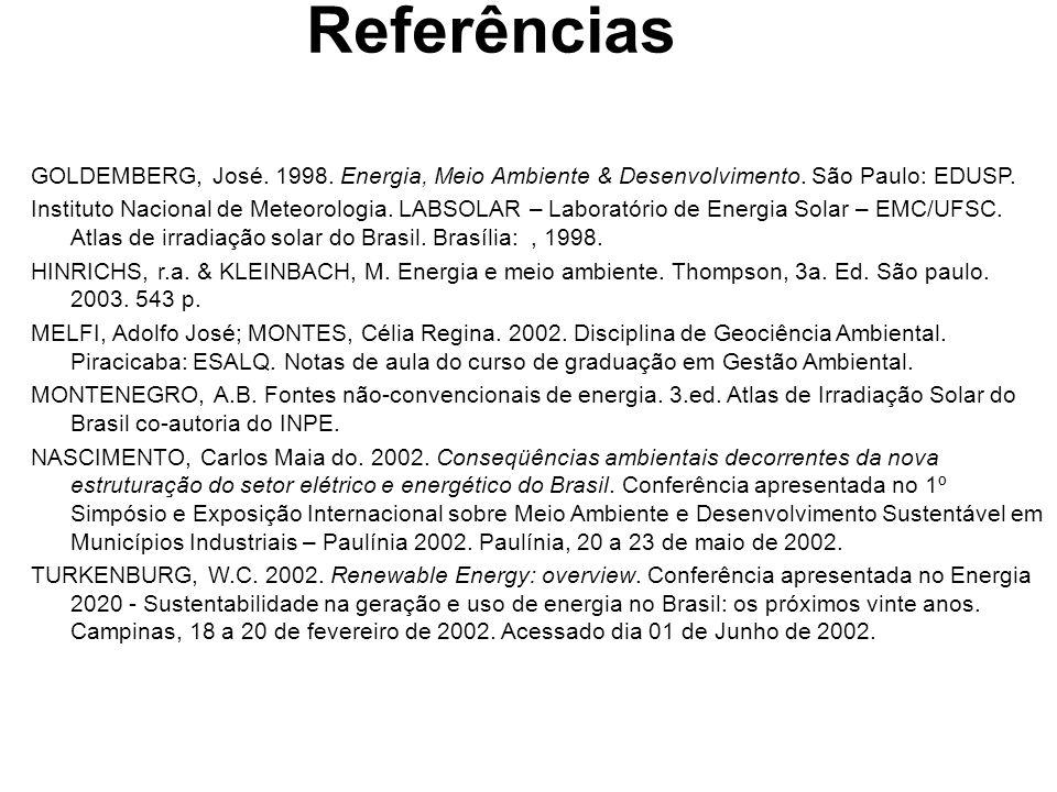 GOLDEMBERG, José.1998. Energia, Meio Ambiente & Desenvolvimento.