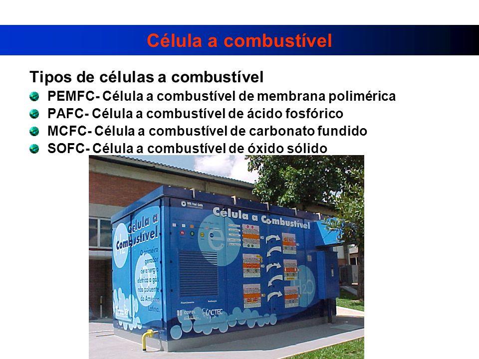 Célula a combustível Tipos de células a combustível PEMFC- Célula a combustível de membrana polimérica PAFC- Célula a combustível de ácido fosfórico MCFC- Célula a combustível de carbonato fundido SOFC- Célula a combustível de óxido sólido