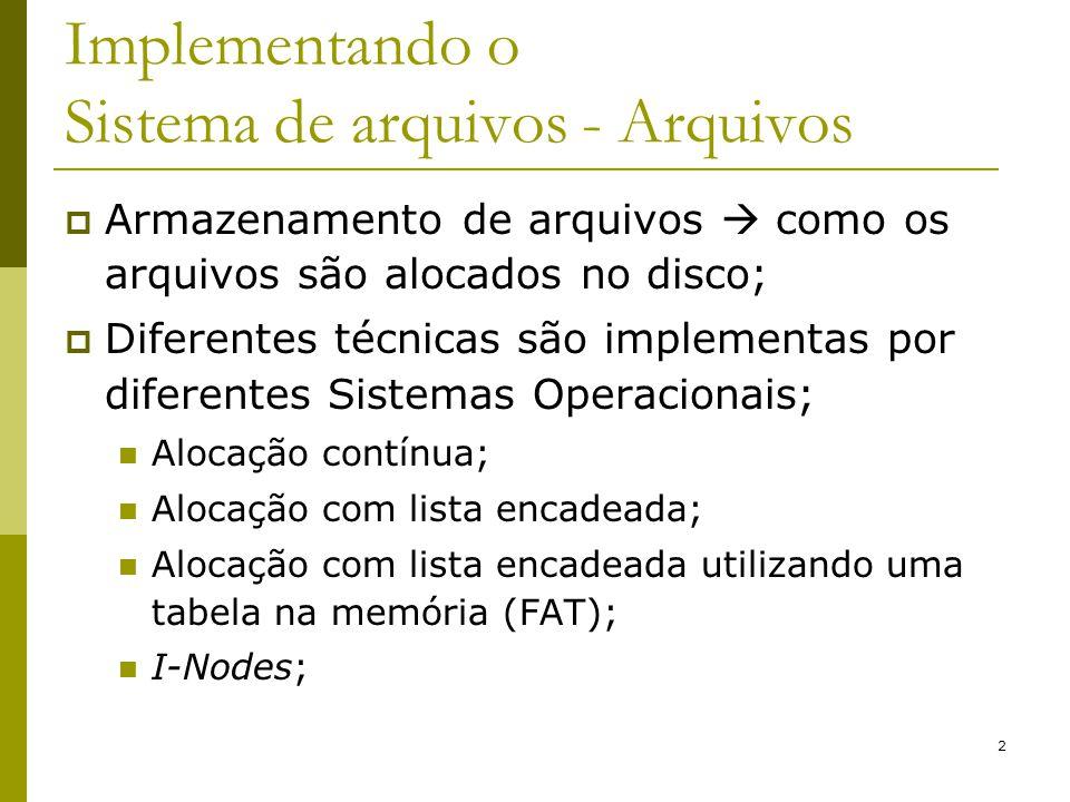 2 Implementando o Sistema de arquivos - Arquivos Armazenamento de arquivos como os arquivos são alocados no disco; Diferentes técnicas são implementas
